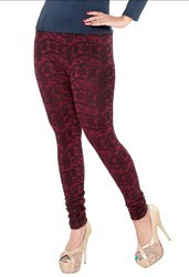 Meroon Knitted Jacquared Fabric Designer Leggings, Size: Free