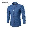 Men Casual Cotton Denim Blue Shirt