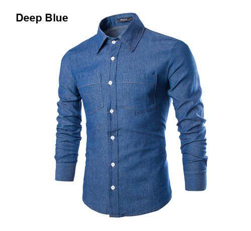 daf8f6593f3 Men XL Cotton Denim Blue Shirt
