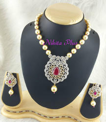 Nikita Plus Red CZ Mala Set with Pearl
