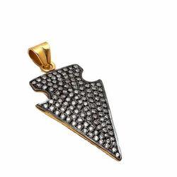 Pave Set Oxidized Sterling Silver Arrowhead Charm Pendant