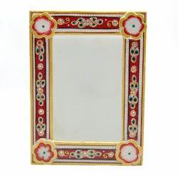 Decorative Meenakari Marble Photo Frame, Shape: Square