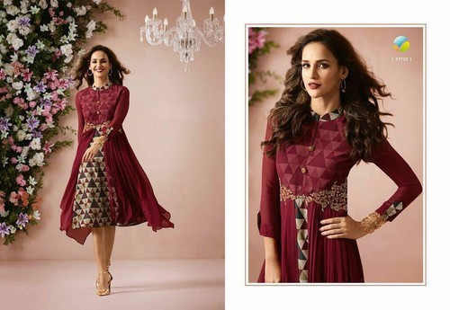 Knee length dress - Georgette Kurti Double Layered With Embroidery ... f918ddc46