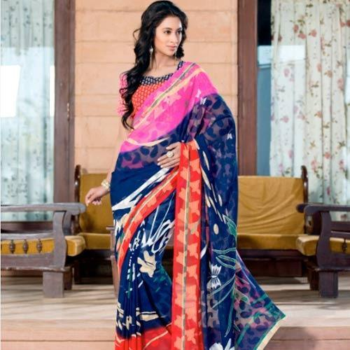 Cotton Blue Printed Saree with Blouse Piece, Length: 6 m