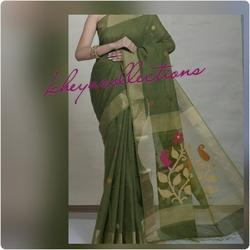 Khadi Silk Saree With Jamdani Pallu