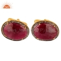 Ruby Gemstone Pave Diamond Mens Cufflinks