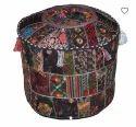 Vintage Patchwork Poufs Black Colour Handmade Pouf