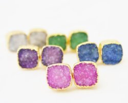 Druzy Cushion Shape Stud Earring