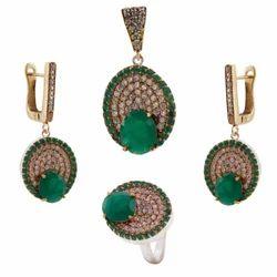 Turkish Silver Gemstone Pendant Set