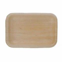 Plain Rectangle Areca Leaf Plate, Packaging Type: Box, Shape: Rectangular