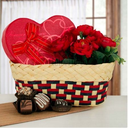 Flowers And Chocolates Together Floral Surprise Chocolate Gift Boxes