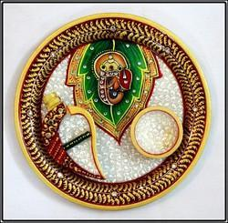 Round Marble Pooja Thali