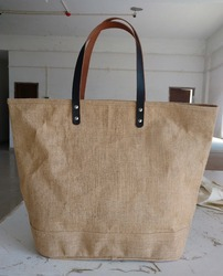 Jute Beach Bag With Leather Handle