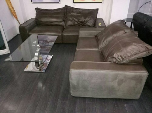 Silver Pure Leather Sofa Set, For Home