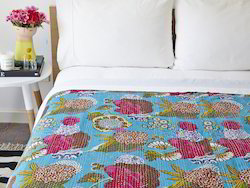 Floral Print Turquoise Tropicana Floral Kantha Handmade Indian Bed Sheet