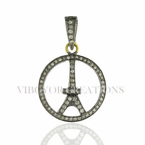 Pave diamond eiffel tower pendant heere ke pendant pave diamond eiffel tower pendant mozeypictures Image collections