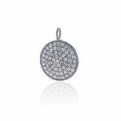Silver Pave Black Diamond Round Pendant