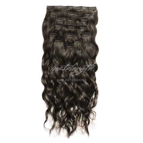 Instalength Dark Brown(#2) Clip-In Hair Extensions (Dark Brown/Wavy), for Personal