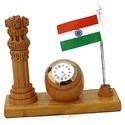Ashoka Stambh Table Clock With Flag WC131
