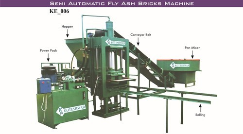 KE_006 Semi Automatic Fly Ash Bricks Machine, Warranty: 1 Year