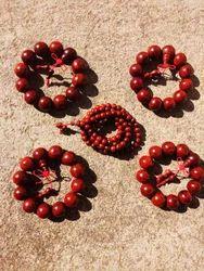 Pure Red Sandalwood Beads Bracelet Mala
