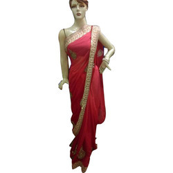 Chiffon Ladies Party Wear Saree, 6 m (without blouse piece), Packaging Type: Box