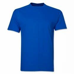 Cotton Blue Round Neck Plain T-Shirt, Size: M-L