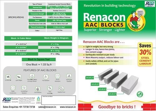 Rectangular Aac Light Weight Blocks In Kerala Kannur Size 24in X 8in X 8in Rs 125 No Id 19155069948