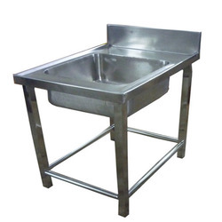 Stainless Steel Silver Color Rectangular Single Sink Unit