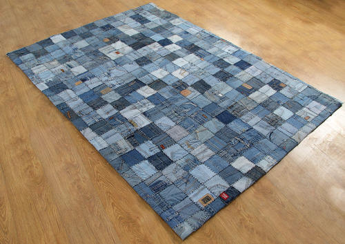 Recycled Denim Patch Work Rug United Overseas Manufacturer In
