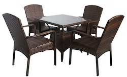 Sleek Back Support Wicker Coffee Set
