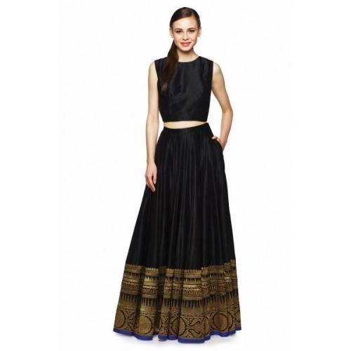 ac841045bfe310 Mireille Party Wear Designer Black Long Skirt With Blouse, Rs 8000 ...