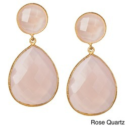 Rose Quartz Bezel Set Gemstone Drop Earrings