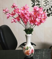 Hyperboles Artificial Flower Pink Blossom With Vase