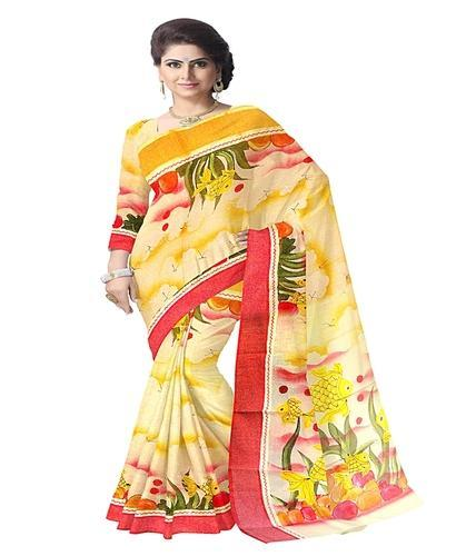 eab904e5ca Peach Colour BENGAL TANT COTTON Bengal Cotton Designer Saree With Applique  Work And Hand Painted,