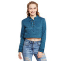 Solid Textured Blue Cropped Sweatshirt With I-Lits