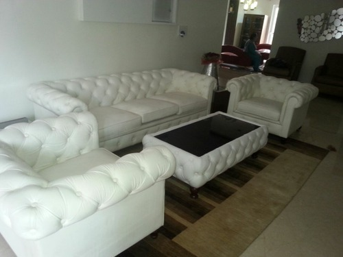 White 5 Seater Chesterfield Sofa Set