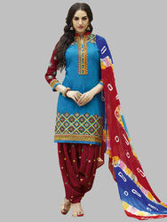 Casual Wear Cotton Designer Punjabi Patiala Suits Id 13966385797