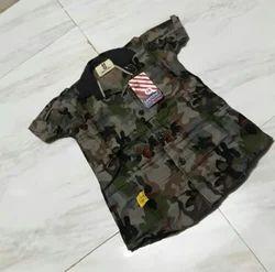 Black Collar Neck Kids Army Print T Shirt, Packaging Type: Packet