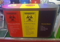 Yellow And Blue Plastic Medical Waste Disposal Bins, Capacity: 55L