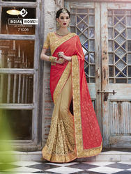 Jacquard Pink and Beige Color Saree