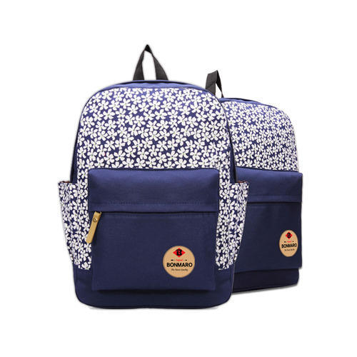 f41d031b83 Bonmaro Flora Navy Blue Canvas Backpacks