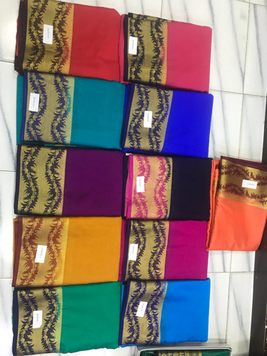 10 Color art silk mysore silk sarees, Machine, 6.3 m (with blouse piece)
