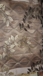 Brown Printed Jacquard Sheer Curtain Fabric, GSM: 150-200