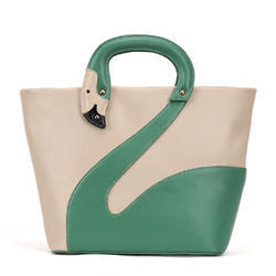 Green And Cream Leather Plain Ladies Hand Bag, For Office