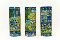 Decorative Cylinder Blue Pottery