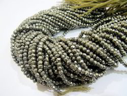 Natural Pyrite Facted Beads Strands