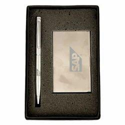 Brown Metal Gift Set Pen Card Holder