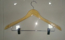 Wooden Hangers with Lower Clips