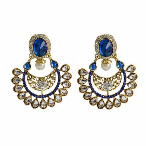 7a4fdb6ba Taj Pearl Gold Tone Royal Blue Crystals Designer Earrings at Rs 399 ...